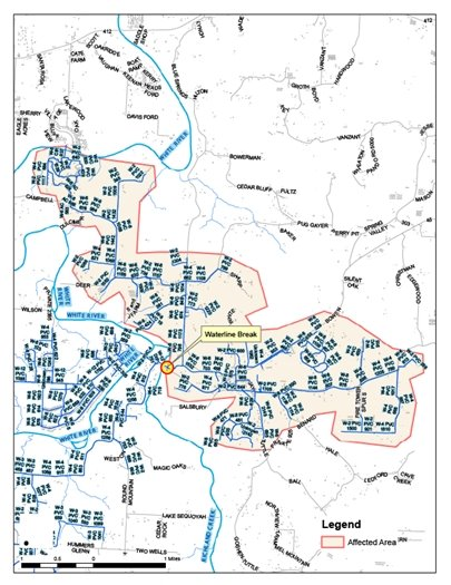Map showing affected area for Goshen Boil Water notice