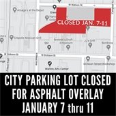 Municipal Parking Lot Off West Avenue Closed for Milling and Asphalt Overlay