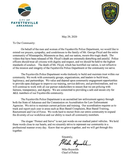 Chief Reynolds message to the community