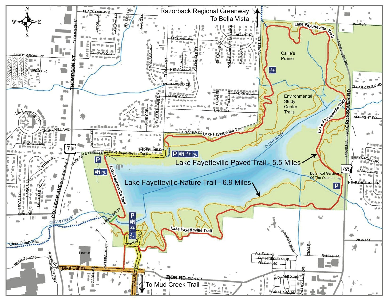 Lake Fayetteville Bike Map