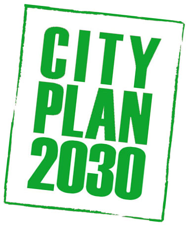 City Plan 2030 logo with green text &#34City Plan 2030&#34