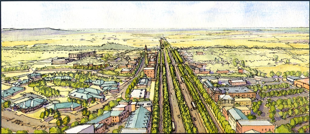 Fulbright Transformation Concept Drawing of street lined with trees and buildings in the area