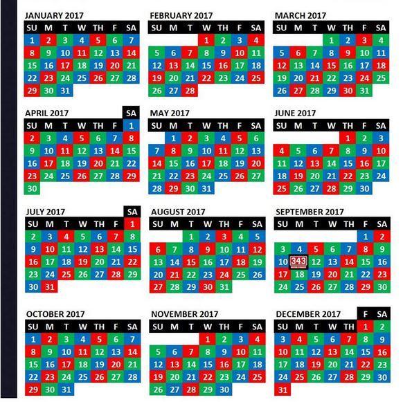 2017 shift calendar