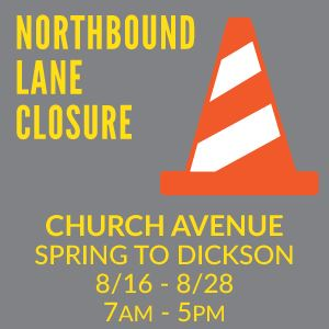 Lane Closure Church Avenue