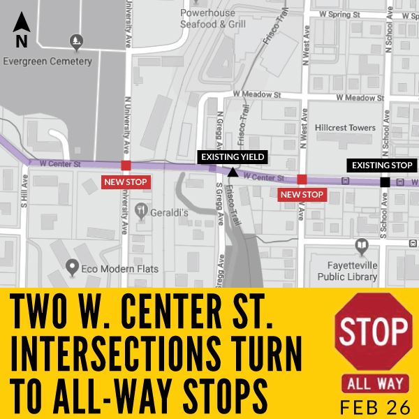 W Center Street All-Way Stops