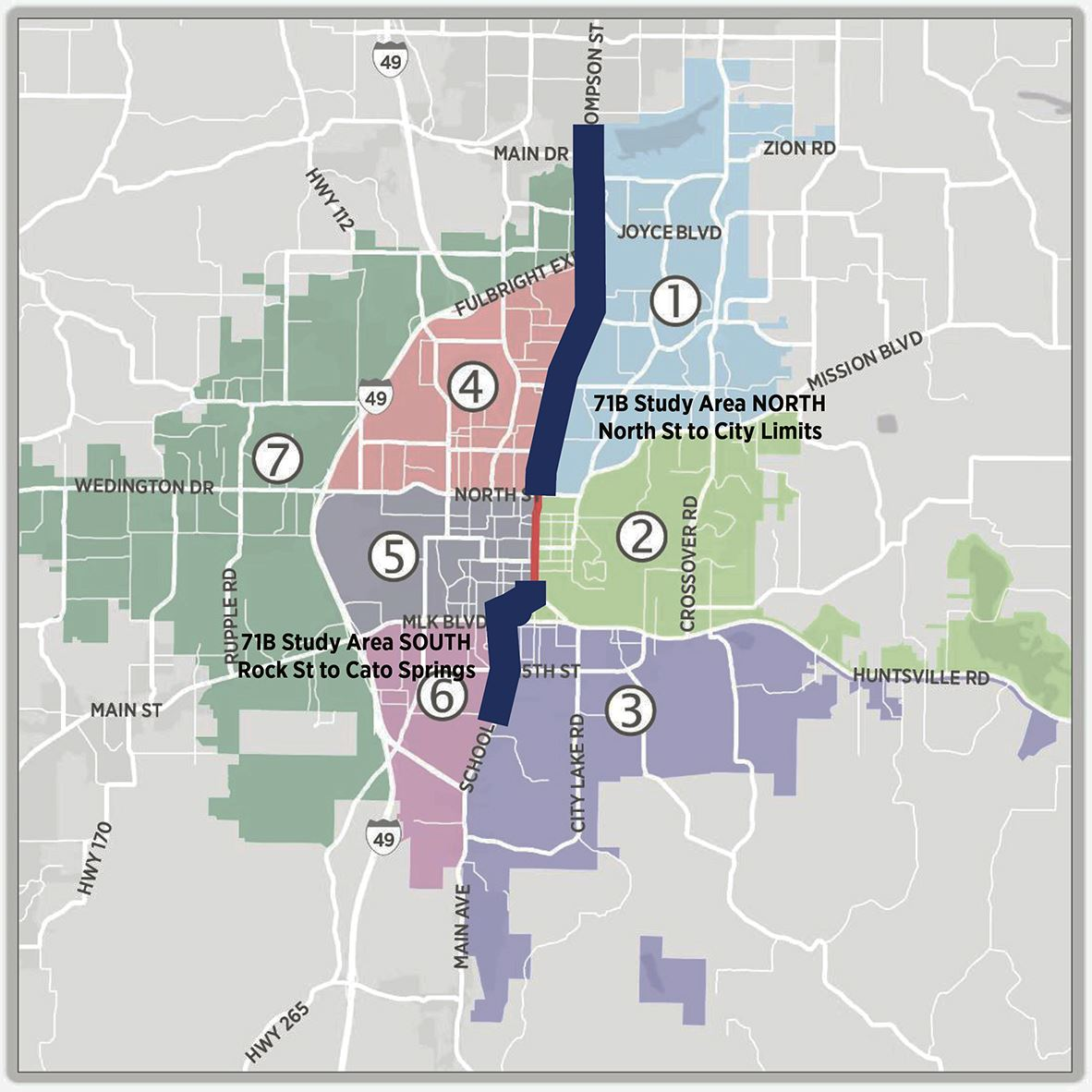 71B Corridor Plan Study Area Map