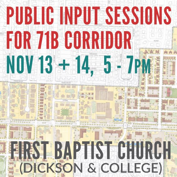 Public Input Sessions for 71B Corridor Plan