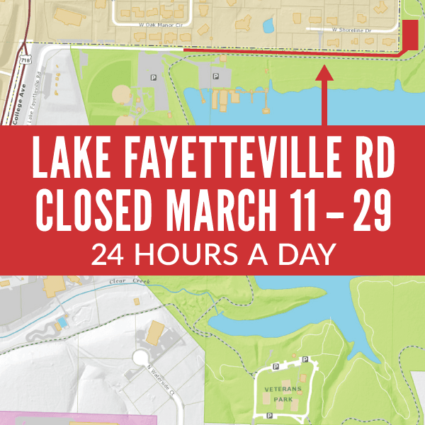 Section of Lake Fayetteville Road Closed, No Access to North Shore Parking Lot
