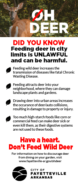 A flier that lists reasons not to feed deer, as specified on this web page.