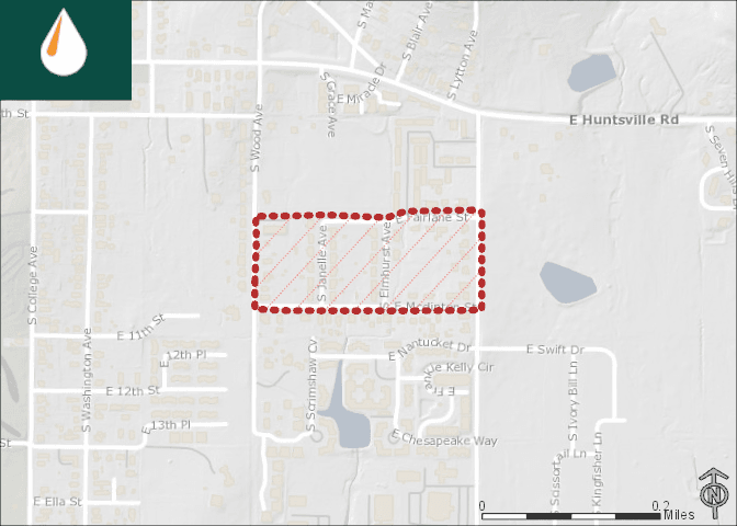 Map of the Fairlane Elmhurst McClinton affected area