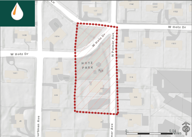 Map of affected area at North Palmer Avenue