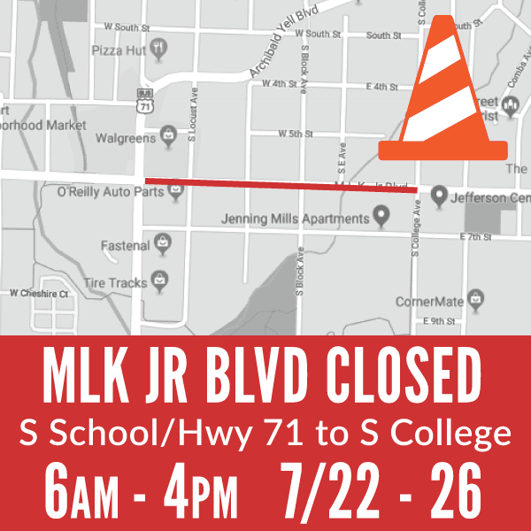 Section of Martin Luther King, Jr. Boulevard Closed
