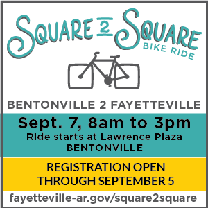 Square to Square, September 7, 8 a.m to 3 p.m. Starts at Lawrence Plaza, Bentonville