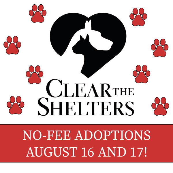Clear the Shelters: No-Fee Pet Adoptions August 16 & 17
