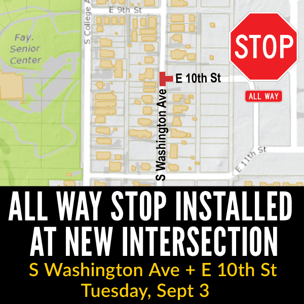 All Way Stop Installed At New Intersection Washington and 10th