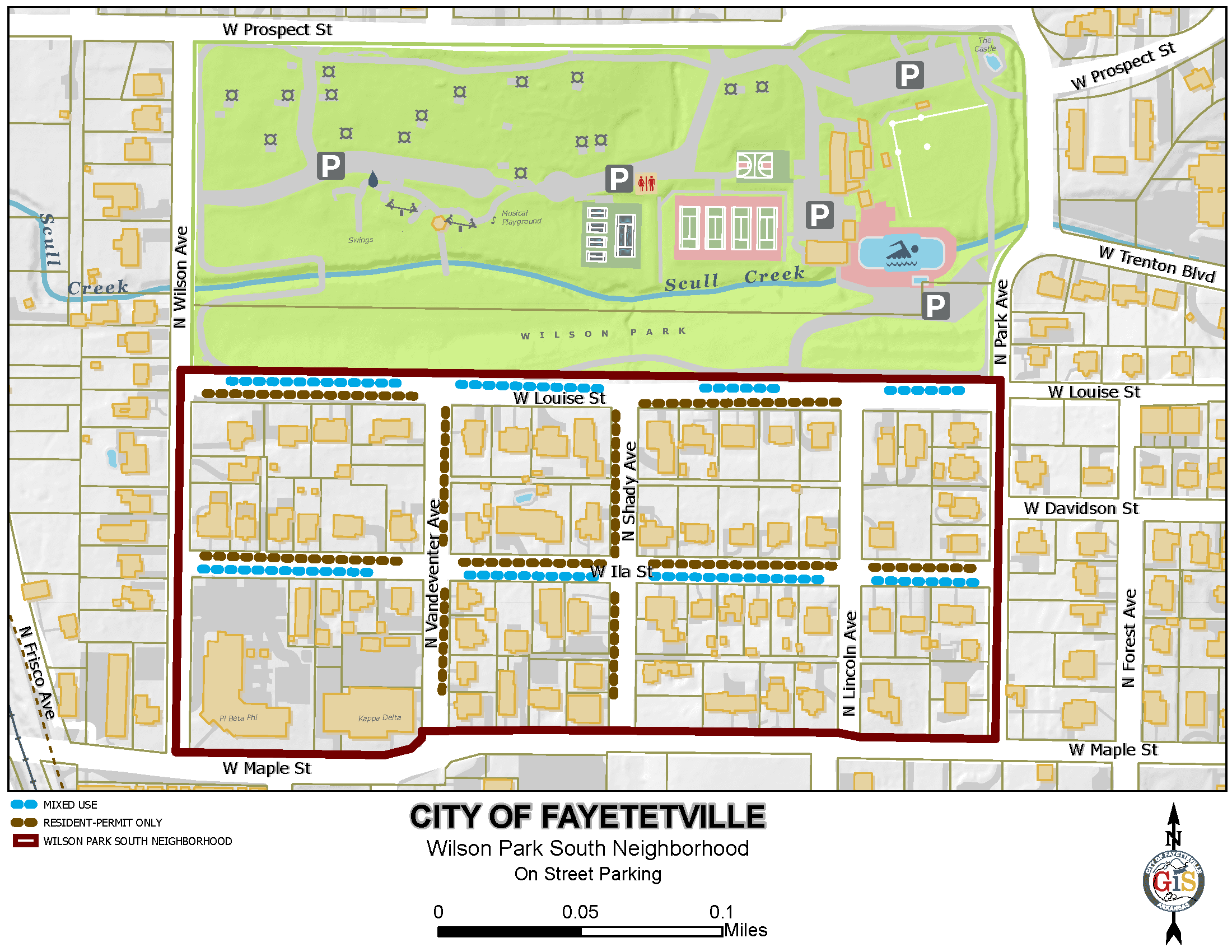 Map of Wilson Park South Parking District