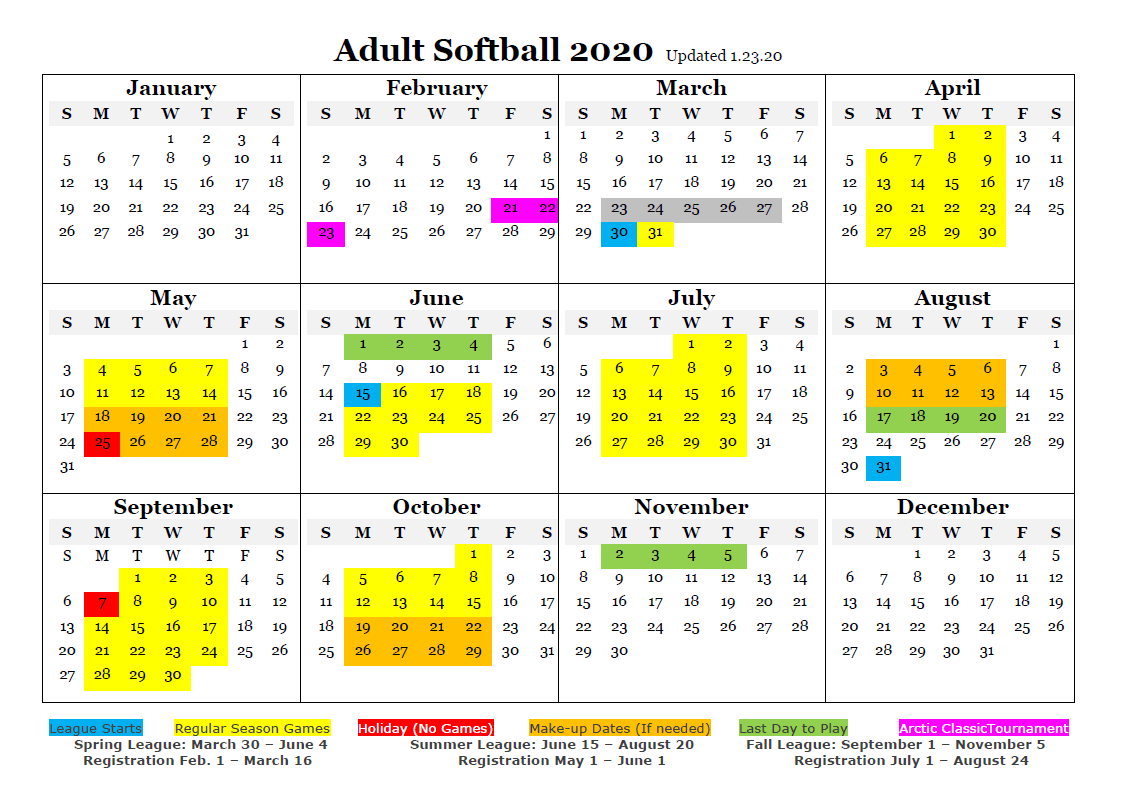 Adult Softball 2020 Schedule