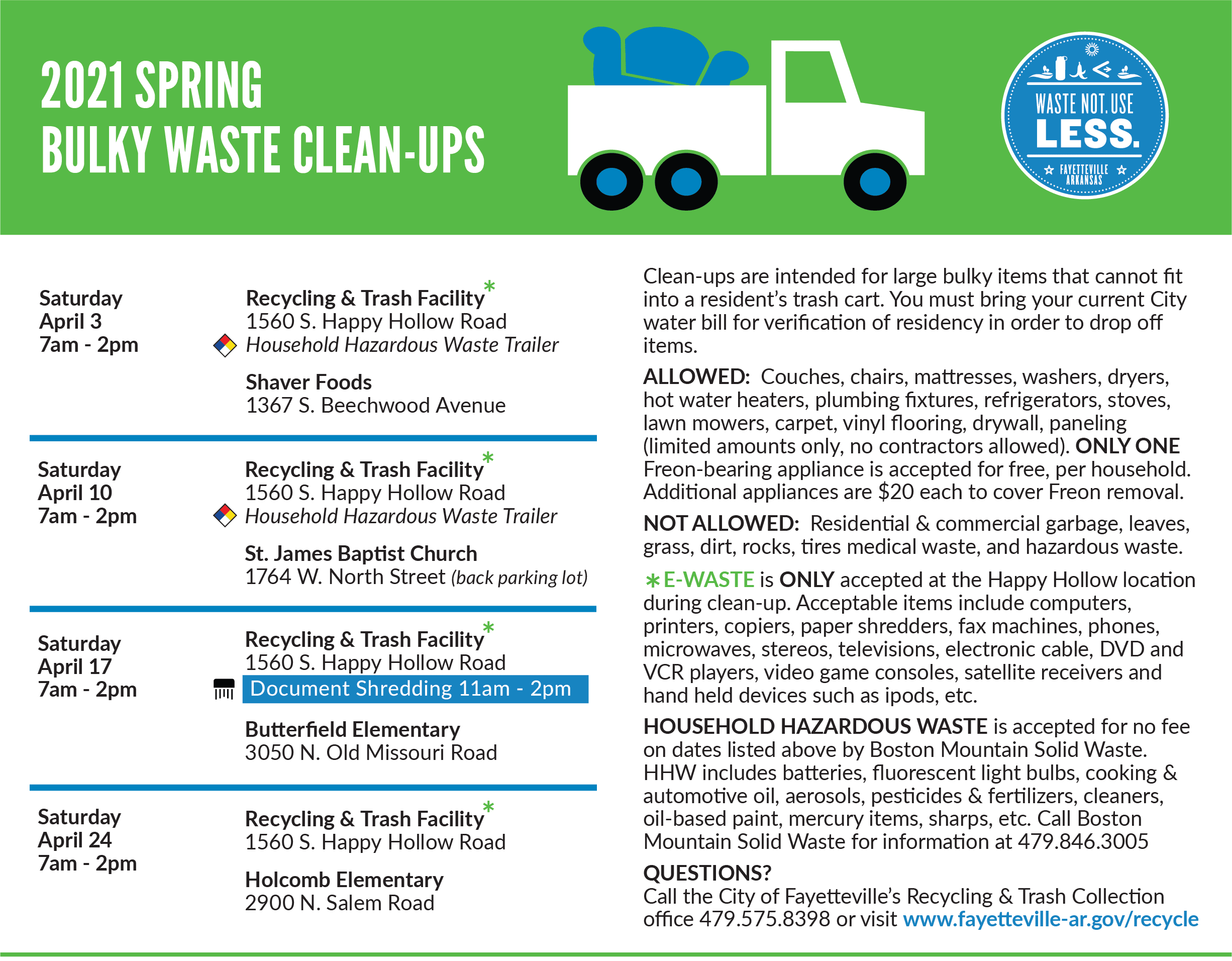 Spring 2020 Bulky Waste clean-up days announced
