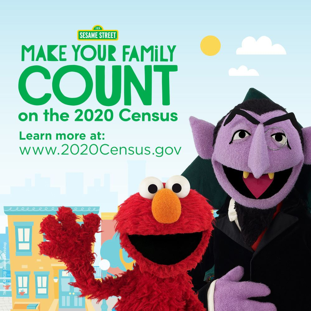 Sesame Street image: Make Your Family Count for the 2020 census