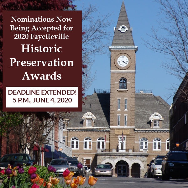 Deadline extended to June 4 for Fayetteville Historic Preservation Awards