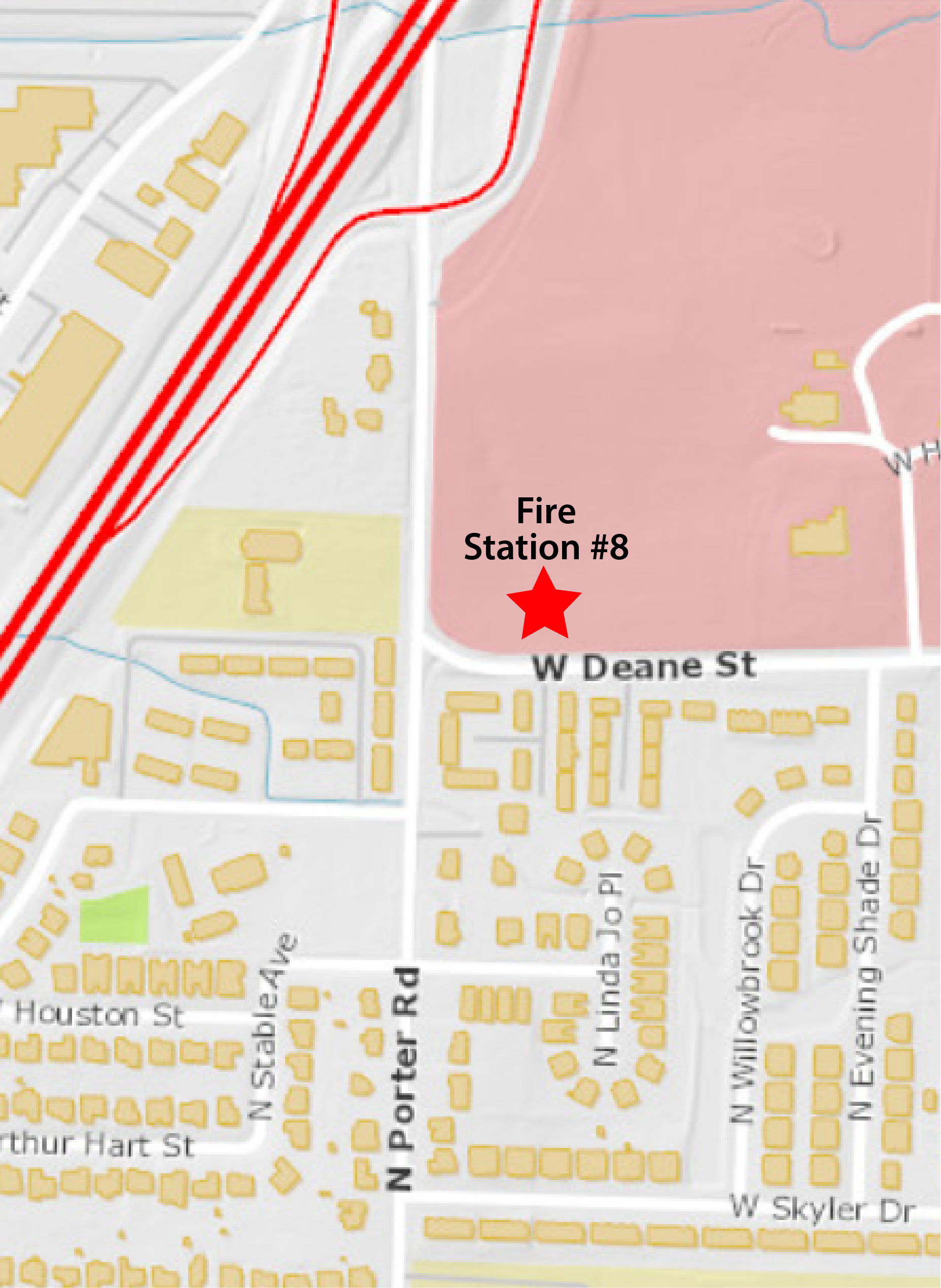 Map showing location of planned Fire Station 8