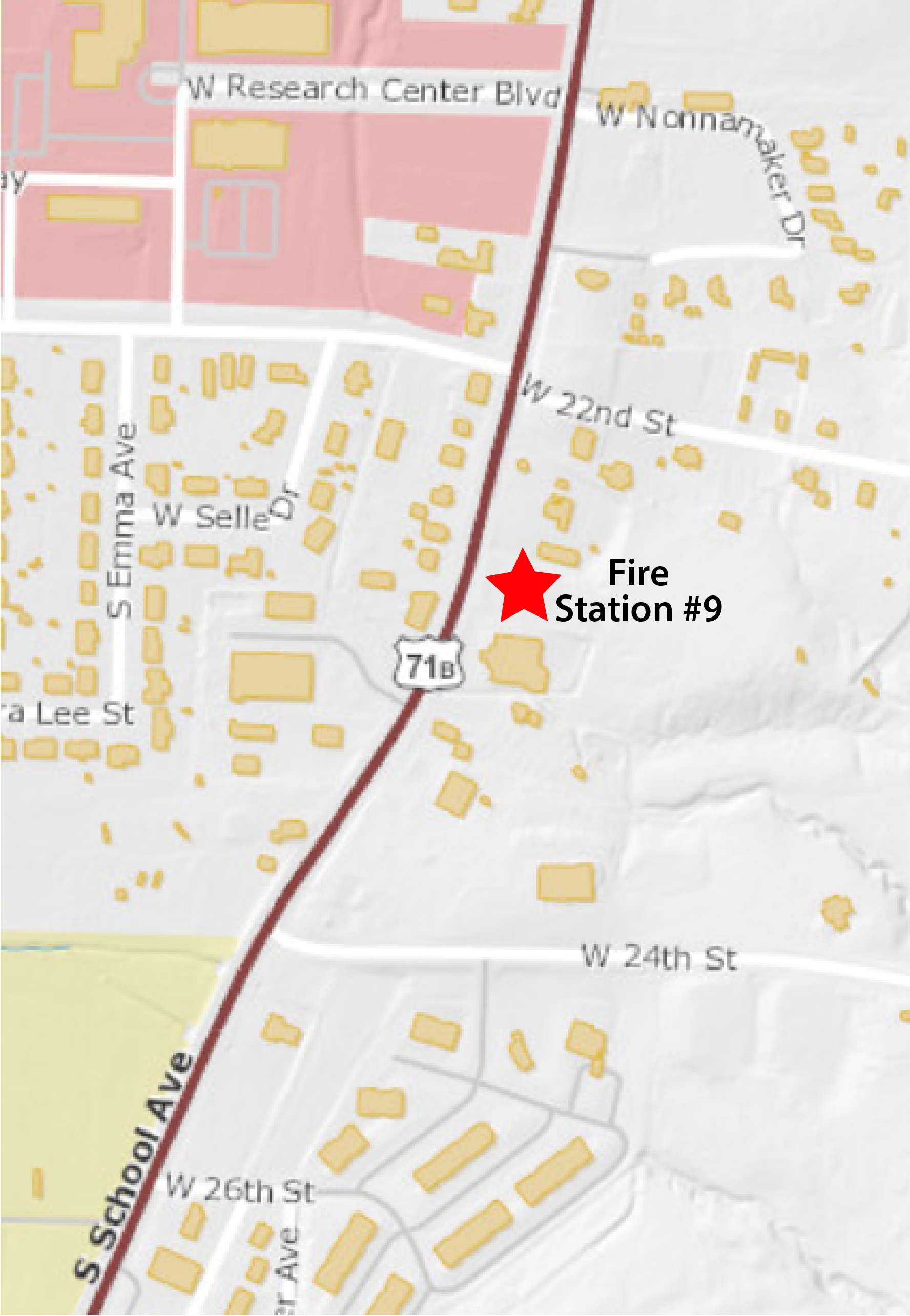 Map showing location of planned Fire Station 9