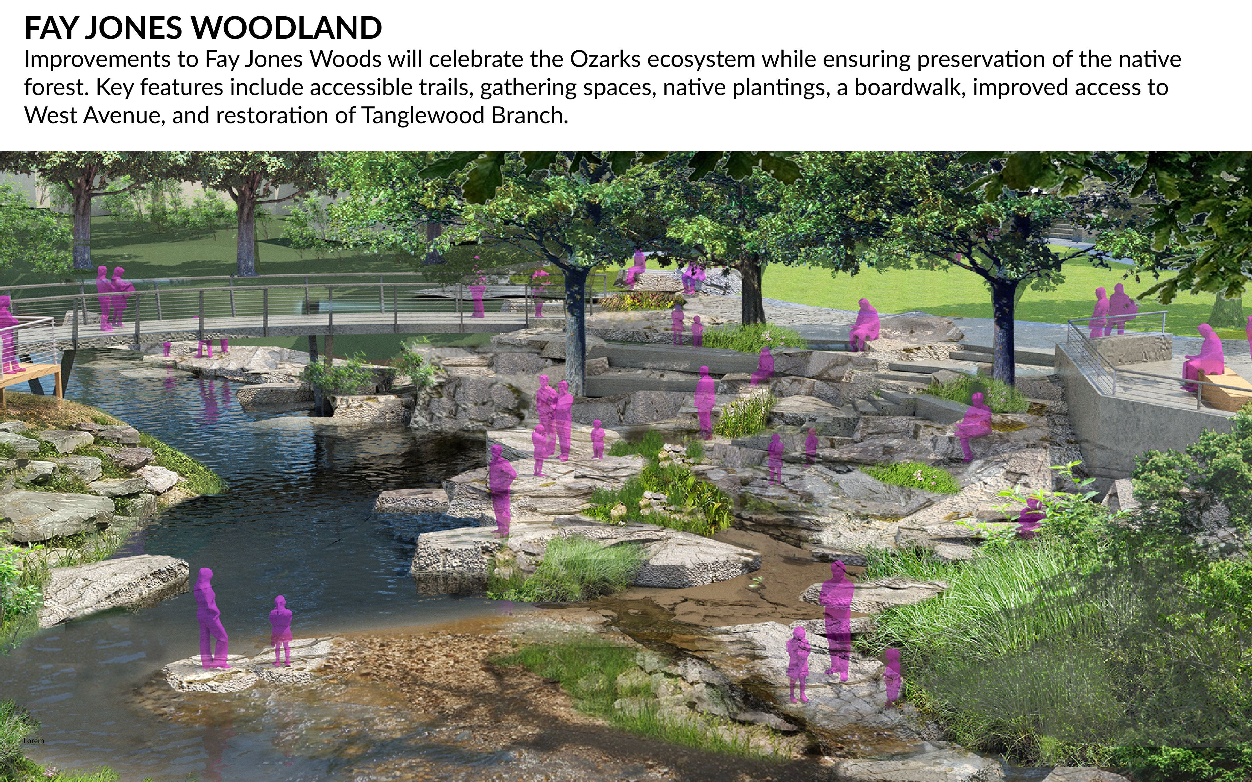 Artists rendering of improvements to Fay Jones Woods