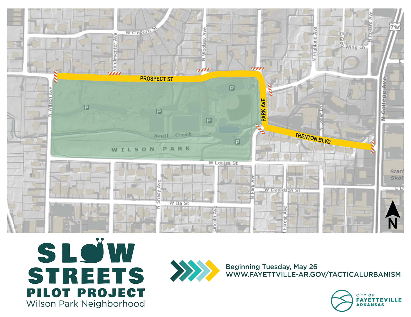 Map of designated Slow Streets around Wilson Park, Fayetteville
