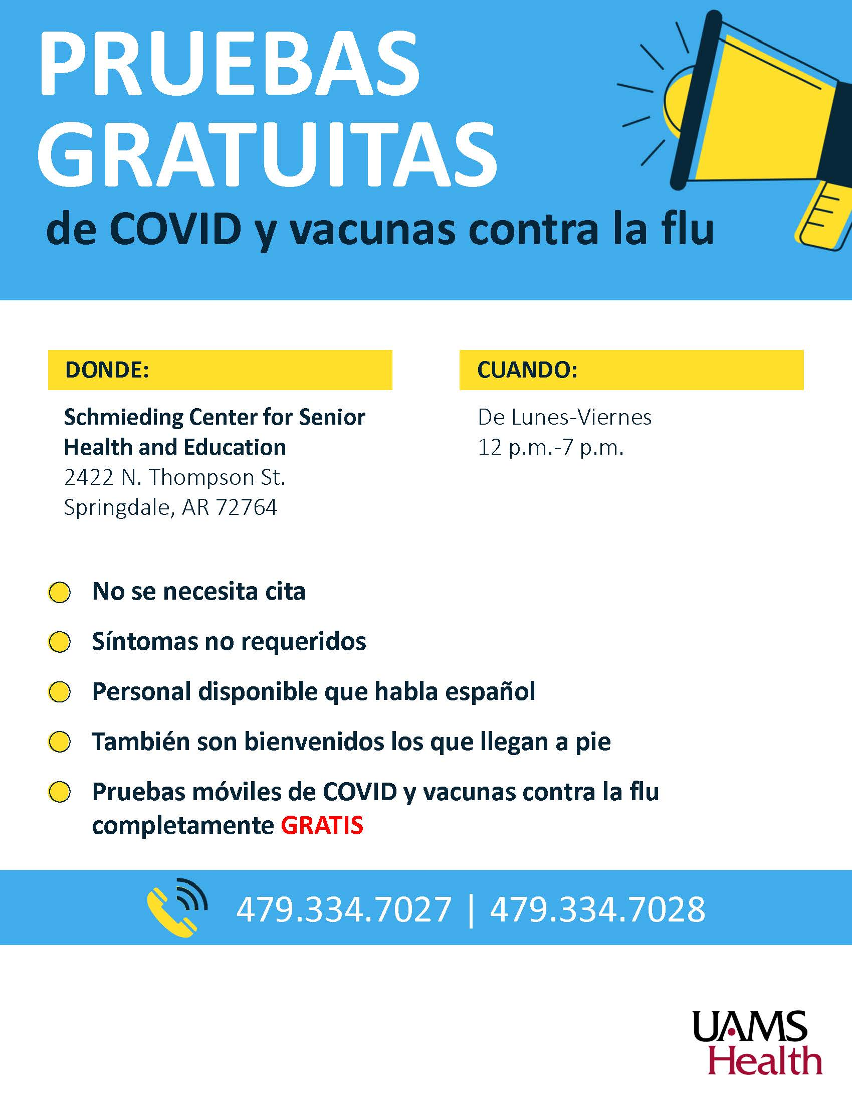 Free testing and flu shots Spanish