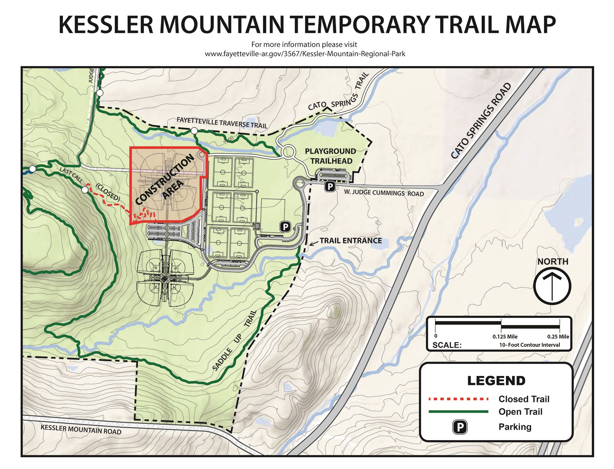 A map showing the ball field construction area and closed section of trail at Kessler Mt. Park