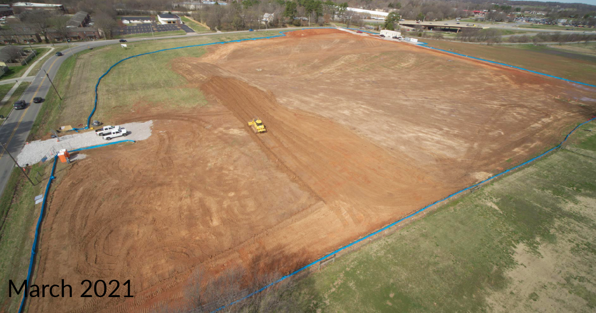 Drone photo showing Police HQ site with groundclearing equipment with Date March 2021