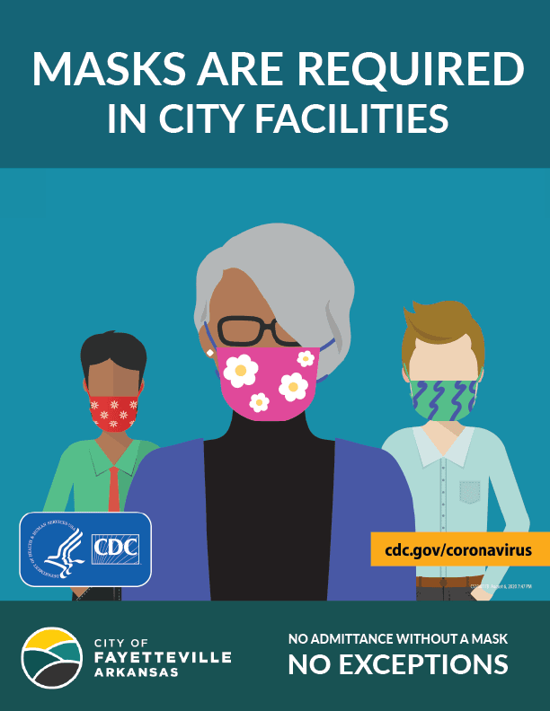 Graphic showing illustration of three people in masks. Text: Masks are required in City Facilities.
