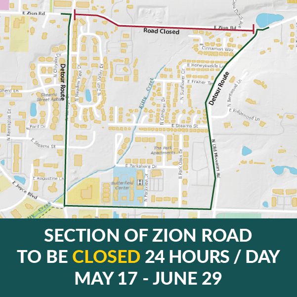 Section of Zion Road to be closed May 17 through June 29