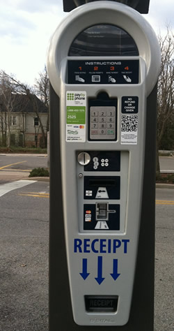 Full view of a parking pay station