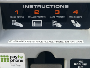 Close-up of the instructions on a pay station