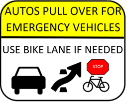 Bike lane emergency vehicles