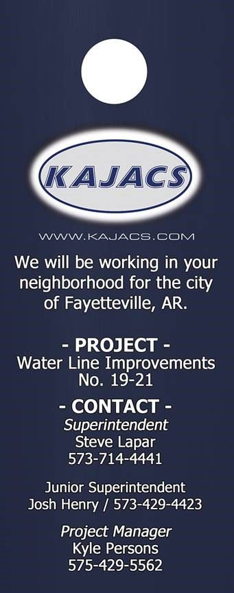 An image of the door hanger contractors are using to notify residents of upcoming utility constructi