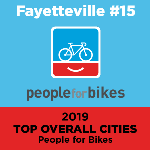 Fayetteville #15, 2019 Top Overall Cities: People for Bikes Opens in new window