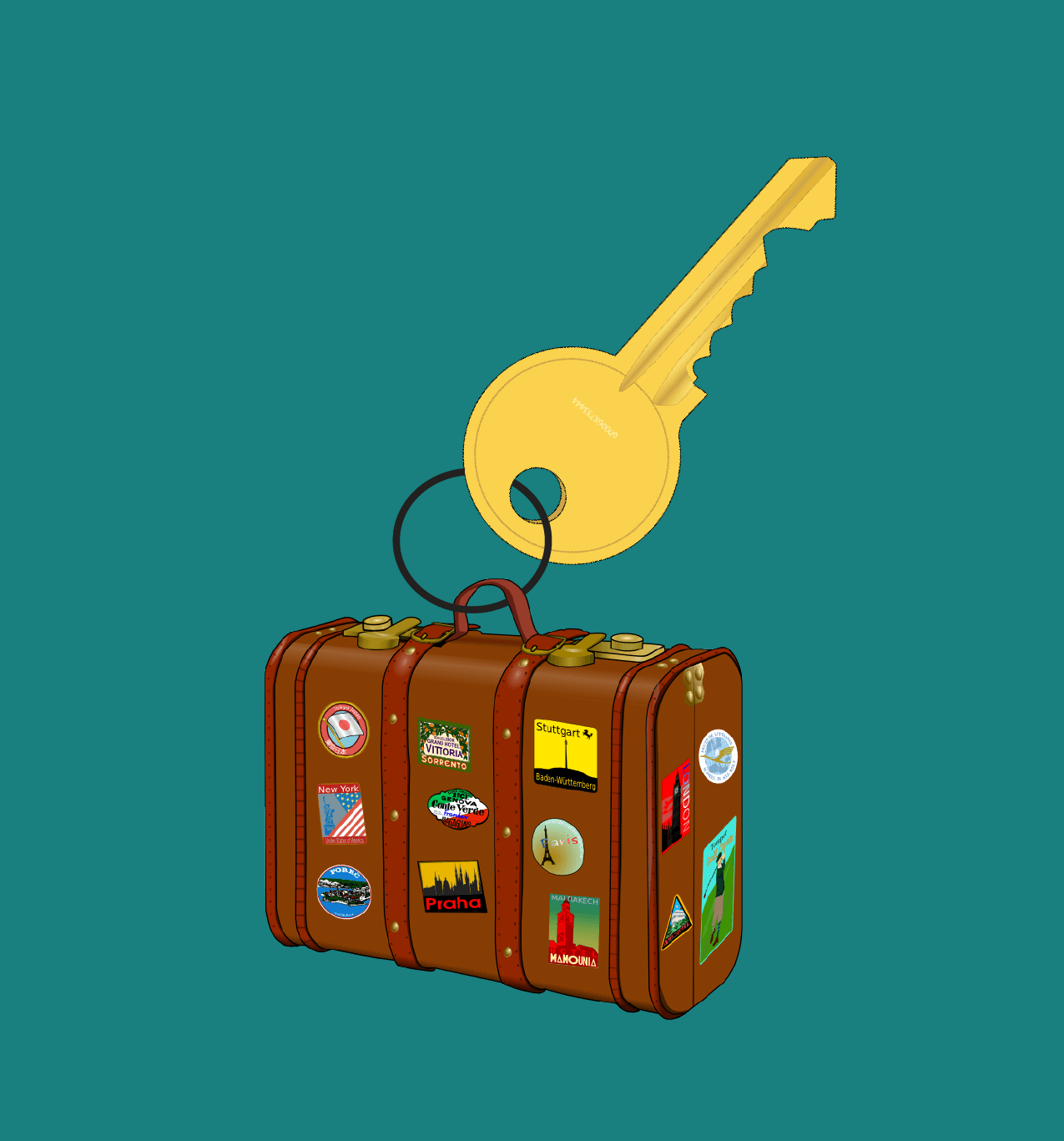 Short term rental image:  a suitcase and key