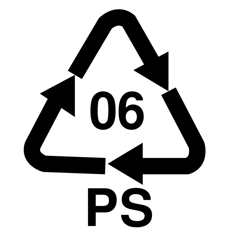 Polystyrene recycle symbol: PS #6