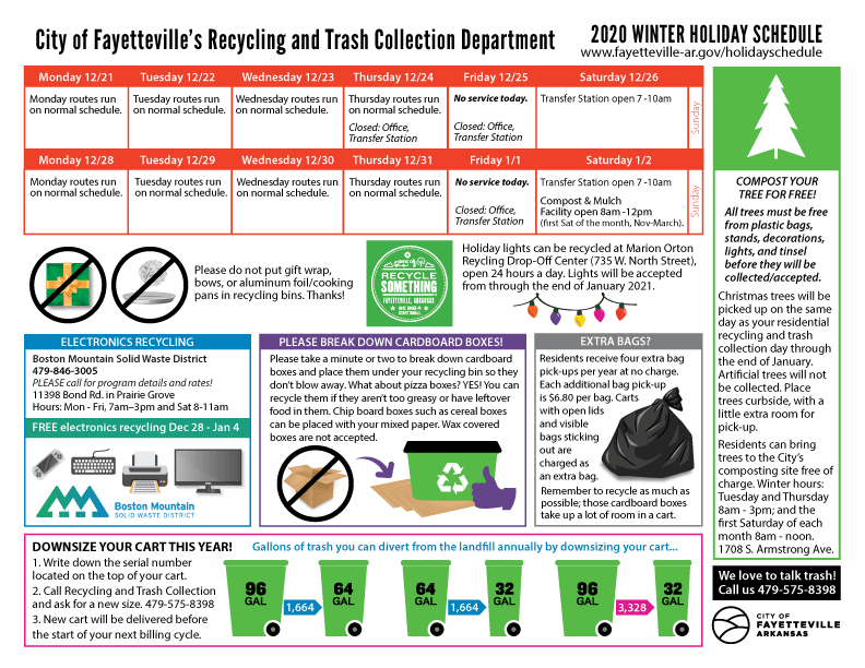 Recycling And Trash Info For Winter Holiday 2019/20