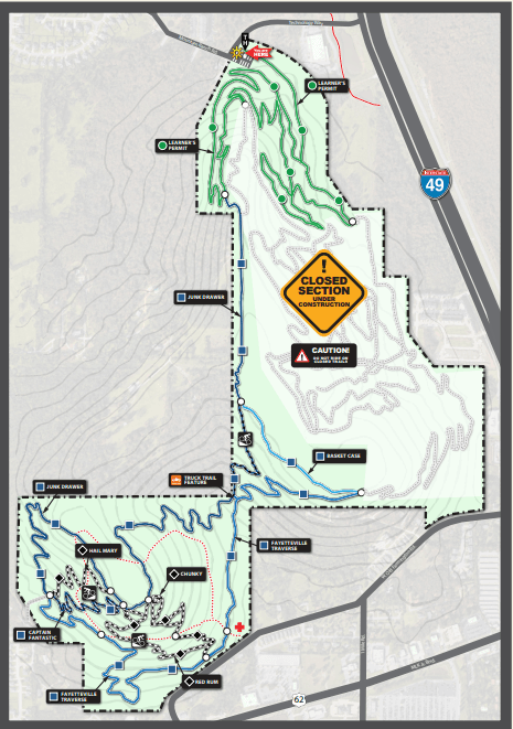 Map of construction zones and new trail now open at Centennial Park Opens in new window